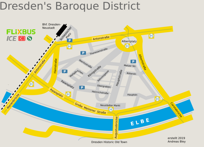 Map of the Baroque District Dresden
