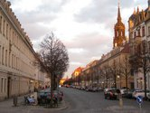 The Koenigsrasse street - imposing Avenue between the Japanisches Palais Palace and Albertplatz Square