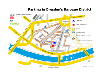Overview parking in Dresden's Baroque District