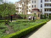 A herb garden surrounded by the domestic architecture from the 18th and 19th centuries