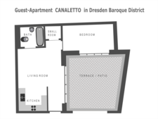 Groundplan of the holiday flat CANALETTO with spacious patio and without steps and stairs